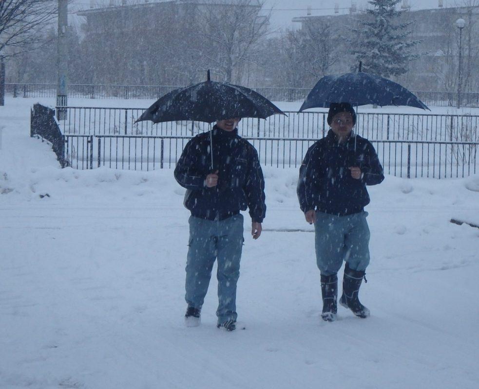 実習生 通勤 雪